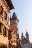 City Hall Tower and Tyn Church in the old town of Prague, Czechia — Stok fotoğraf