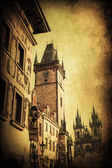 Vintage style picture of the historical City Hall Tower with a famous astronomical clock in Prage, Czechia — Stockfoto