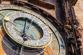 Famous astronomical clock at the historical City Hall Tower in Prague, Czechia — Stok fotoğraf