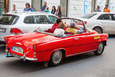 Classical red Skoda for sightseeing in Prague, Czechia — Stockfoto