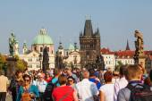 Bridge tower of the Charles Bridge at the lesser town in Prague, Czechia — Stockfoto