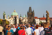 Bridge tower of the Charles Bridge at the lesser town in Prague, Czechia — Stok fotoğraf