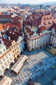 Aerial view of the old town square with historical buildings in Prague, Czechia — Stock Photo