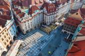 Aerial view of the old town square with historical buildings in Prague, Czechia — Stok fotoğraf