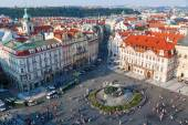 Aerial view of the Old Town Square in Prague, Czechia — Stok fotoğraf