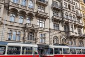 Historic tram in the New Town of Prague, Czechia — Foto Stock
