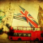 Vintage textured collage of iconic symbols of London, UK — Stock Photo #62301343
