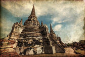 Vintage style picture of the Wat Phra Si Sanphet, the ruin of the former royal temple in Ayutthaya, Thailand — ストック写真