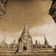 Vintage style picture of the Wat Phra Si Sanphet, the ruin of the former royal temple in Ayutthaya, Thailand — Stock fotografie #62786027
