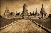 Vintage style picture of the Wat Phra Si Sanphet, the ruin of the former royal temple in Ayutthaya, Thailand — Stock Photo