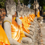 Buddha sculptures in the Buddhist Temple Wat Yai Chai Mongkon in the historical city Ayutthaya, Thailand — Stock Photo #62828477