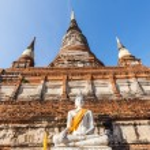 Buddha sculptures in the Buddhist Temple Wat Yai Chai Mongkon in the historical city Ayutthaya, Thailand — Stock Photo #62830921