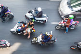 Top view of traffic in Bangkok in motion blur — Stock Photo