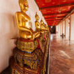 Golden Buddha statues at Wat Pho tempel in Bangkok, Thailand — Stock Photo #62972969