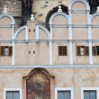 Antique facade at a historical building at the Old Town Square in Prague, Czechia — Stock Photo #62976909