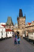 Old bridge tower at the famous Charles Bridge in Prague, Czechia — Stock Photo