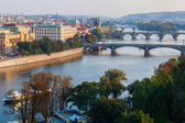 Aerial view over Prague with the river Vltava with bridges, Prague, Czechia — Foto Stock