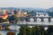Aerial view over Prague with the river Vltava with bridges, Prague, Czechia — Stock Photo