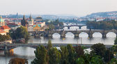 Aerial view over Prague with the river Vltava with bridges, Prague, Czechia — 图库照片