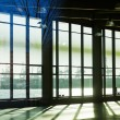 View through windows on the Hamburg harbour in backlit — Stock Photo #63076873