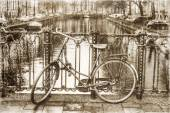 Vintage style picture of a bicycle on a canal bridge in Amsterdam, Netherlands — Stock Photo