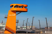Orange viewin point in the HafenCity of Hamburg, Germany — Stock Photo