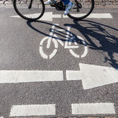 Cycle lane with markings and shades of a moving bicycle — Stok fotoğraf