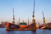 Tong Hai ship in a floating dock in Hamburg, Germany — Stock Photo