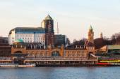 Cityscape of St Pauli, Hamburg, Germany, seen from waterside — Stock Photo