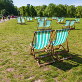 Deckchairs on a lawn of a park in London, UK — Stock Photo