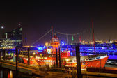 Lightvessel at night in the Port of Hamburg, Germany — Stock Photo