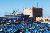 Blue boats in the harbor of Essaouira, Morocco — Stok fotoğraf