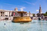 Fountain on the Trafalgar Square in London, UK — Stock Photo