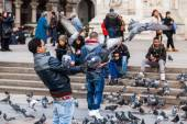 People in a mass of pigeons on the cathedral square in Milan, Italy — Stock Photo