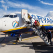Airplane from Ryanair at an airport in Maastricht, Netherlands — Stock Photo #63174037
