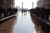St Marks Square under flood in Venice, Italy — Stock Photo