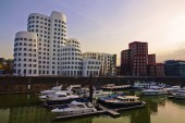 Gehry houses in Düsseldorf, Germany, after sunset — Stock Photo