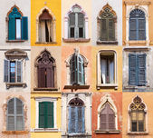 Collage of old windows in Verona, Italy — Stockfoto