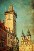 Vintage style picture of the Historical City Hall Towerin Prague, Czechia — Stock Photo