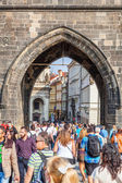 Arch of a tower of the Charles Bridge in Prague, Czechia — Stock Photo