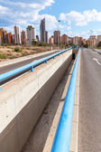 View of the cityscape of Benidorm, Spain, from a distant road — Stock Photo