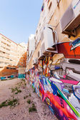Graffiti art at house walls in the old town of Valencia, Spain — Stock Photo