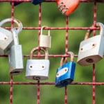 Lock symbol at steel wall still love concept — Stock Photo #55394045