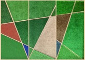 Abstrack wall background from multicolor artificial grass in woo — Stock Photo