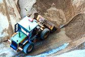 Bull dozer dig sand for construction — Stock Photo