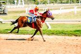 Moving jocky and horse racing sport — Foto de Stock