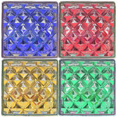 Surface red green blue yellow glass block in square style — Stock Photo