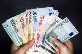 Various denominations of EURO currency banknotes — Stock Photo