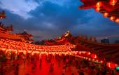 Thean Hou Temple in Kuala Lumpur at night during Chinese New Year — Foto de Stock