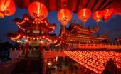 Thean Hou Temple in Kuala Lumpur at night during Chinese New Year — Stockfoto